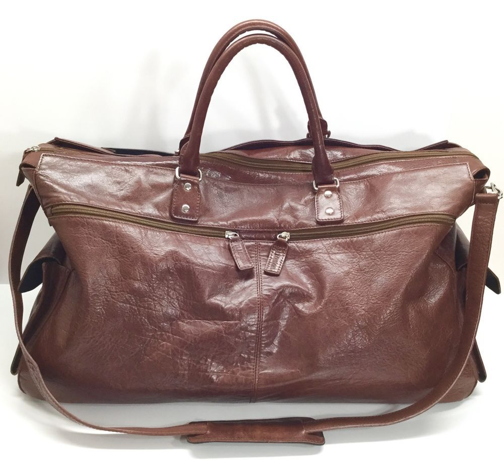 202aee7f47 M London Brown Italian Leather Weekend Travel Duffle Overnight Bag Luggage