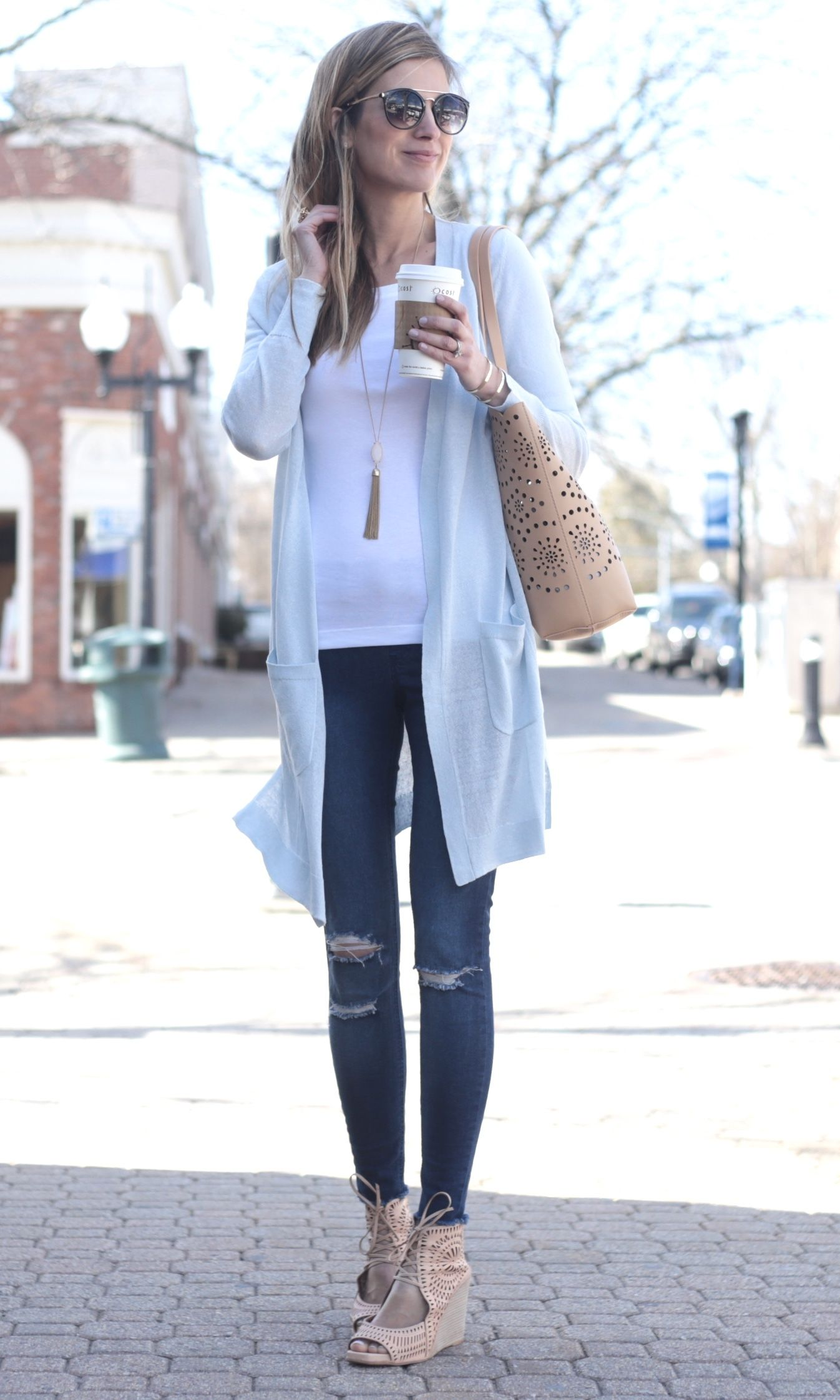 4b5eb1561ee spring outfit idea  long cardigan with jeggings and white fitted tee
