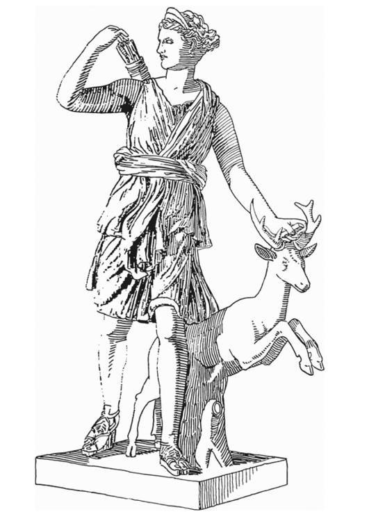 Dibujo Para Colorear Artemis Diosa De La Mitologia Griega Ilustracion Imagenes Para Escuelas Y Educacion Artemis Diosa Mitologia Griega Mitologia Artemis