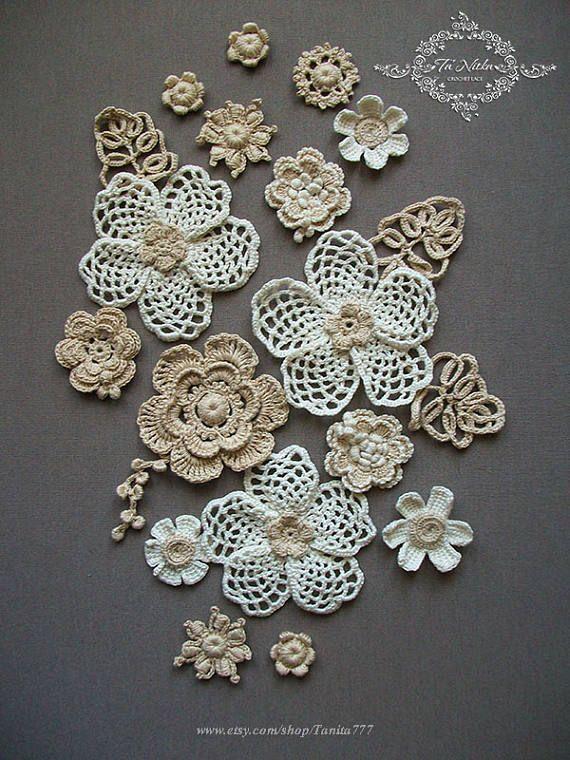 Dress Applique Flowers 20 pc. Irish Crochet Lace Trim Dress #irishlace
