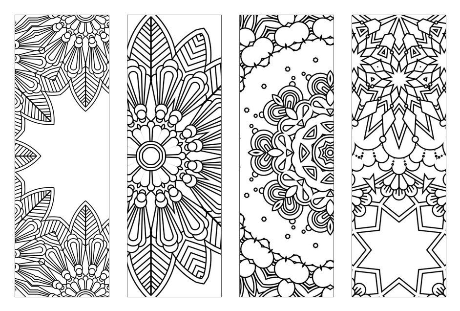New Bookmarks Printable Intricate Mandala Coloring Pages Instant