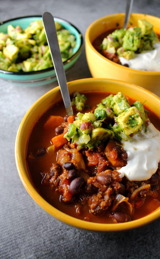 Vegetarian Chili With Avocado Salsa And Sour Cream Recipe Vegetarian Chili Veggie Chili Avocado Salsa