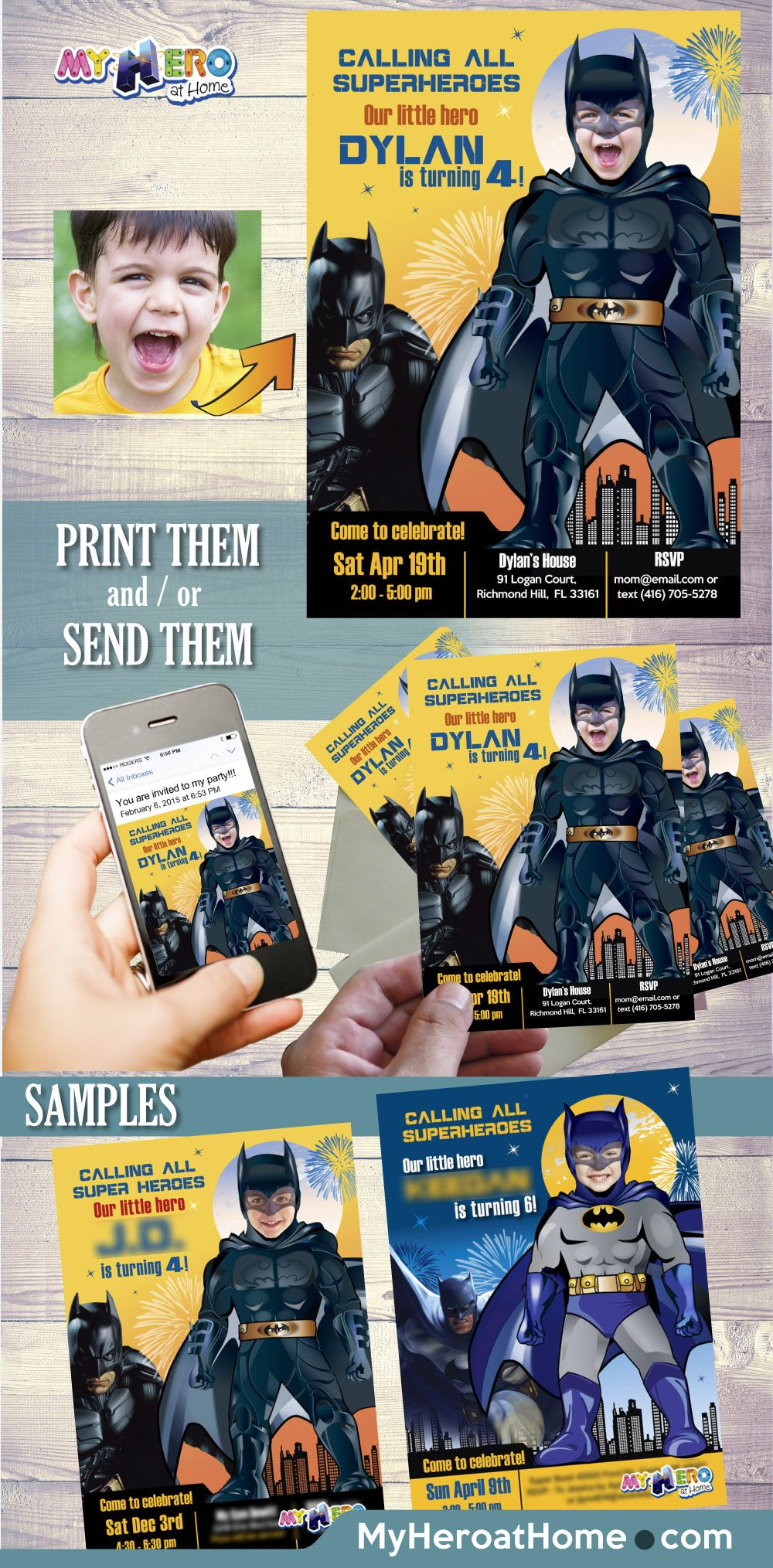 Batman Birthday Invitation. Turn your little boy into his favorite ...