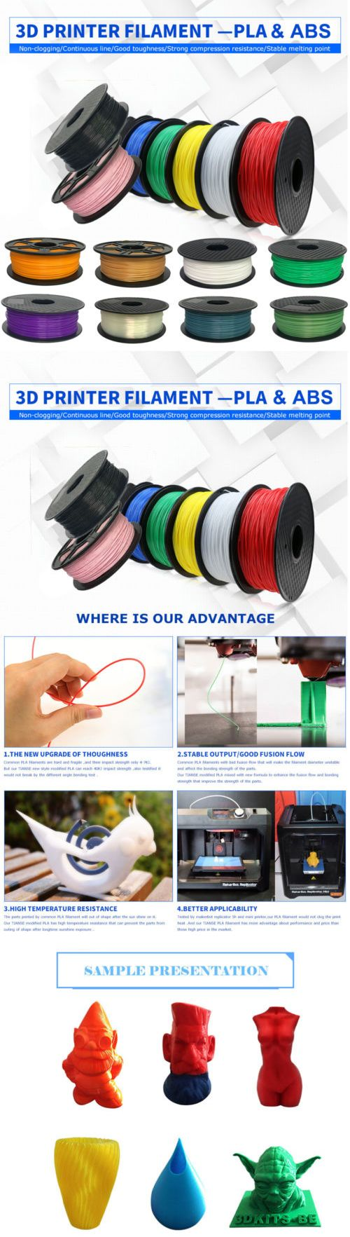 3d Printers And Supplies 183062 Premium Printer Filament 1kg 22 Stable Supply 22lb 175mm 3mm Pla Abs Non Toxic Eco Friendly Buy It Now Only 1475 On Ebay