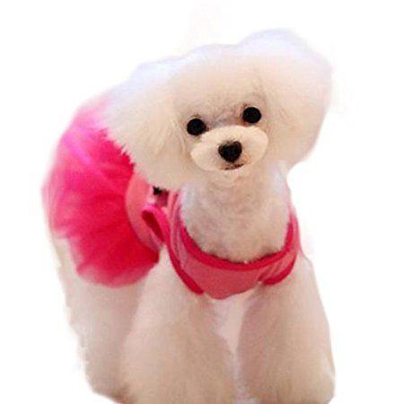 Rosa Tutu Bow Strass Gürtel Kleintiere Hund Katze Kleidung Kleid S ...