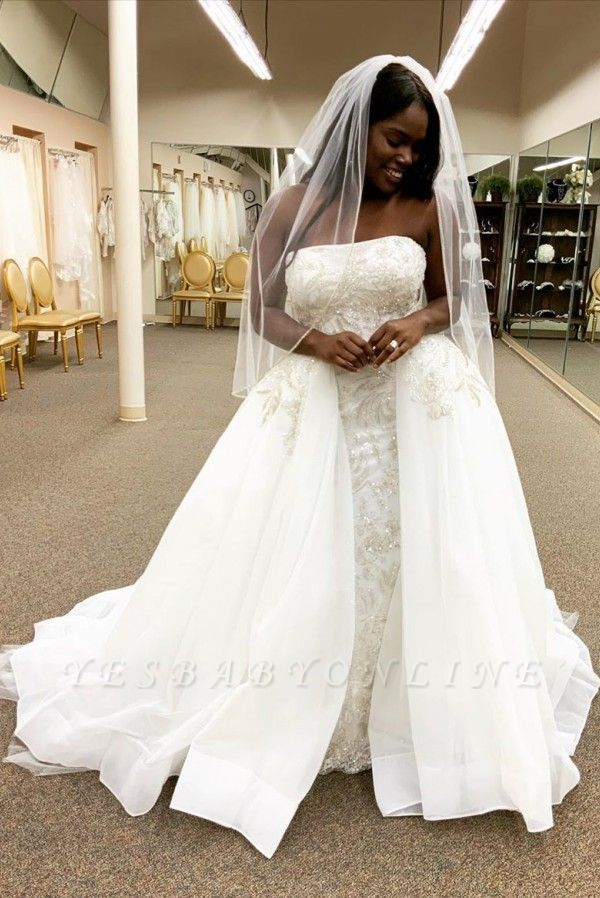 Strapless Lace Column Wedding Dresses With Detachable