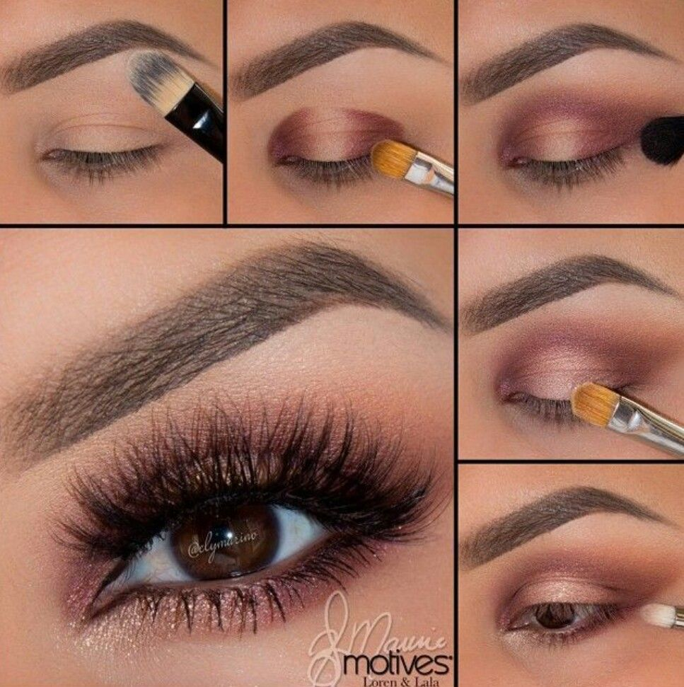 Beautiful pink mauve eyeshadow look Romantic eye makeup