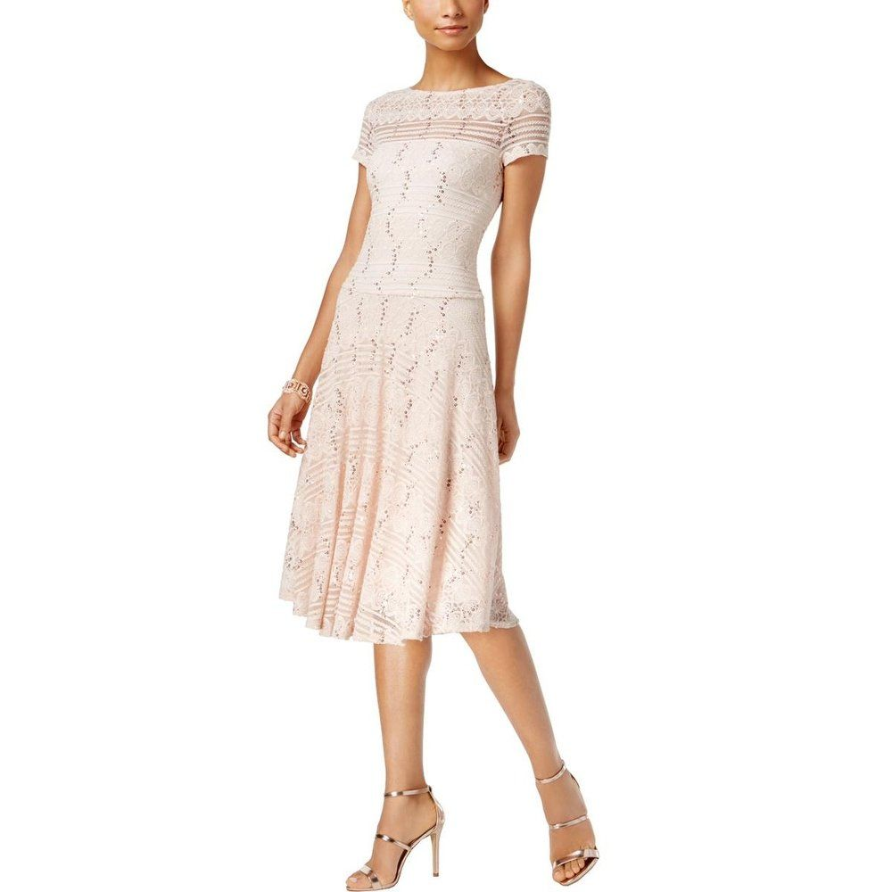 Shop Sangria Womens Party Dress Sequined Lace Free