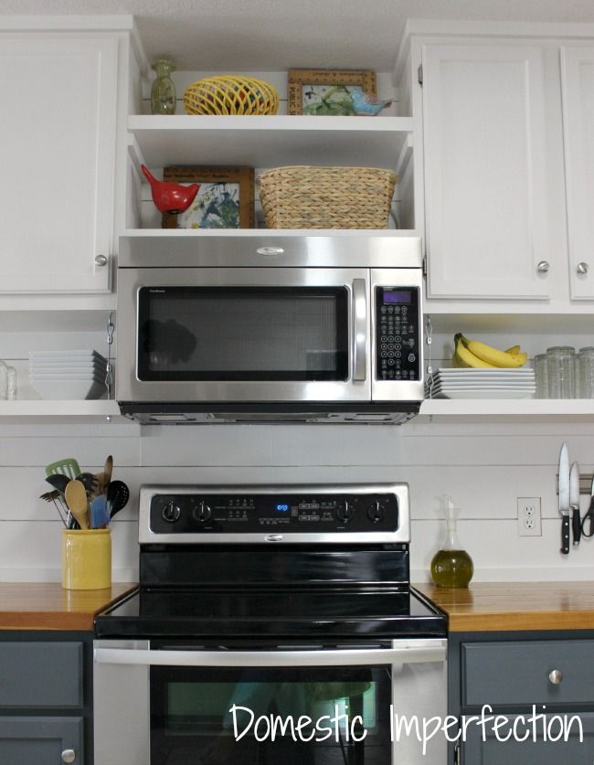 Farmhouse Kitchen On A Budget The Reveal In 2020 Microwave In Kitchen Diy Kitchen Shelves Kitchen Makeover