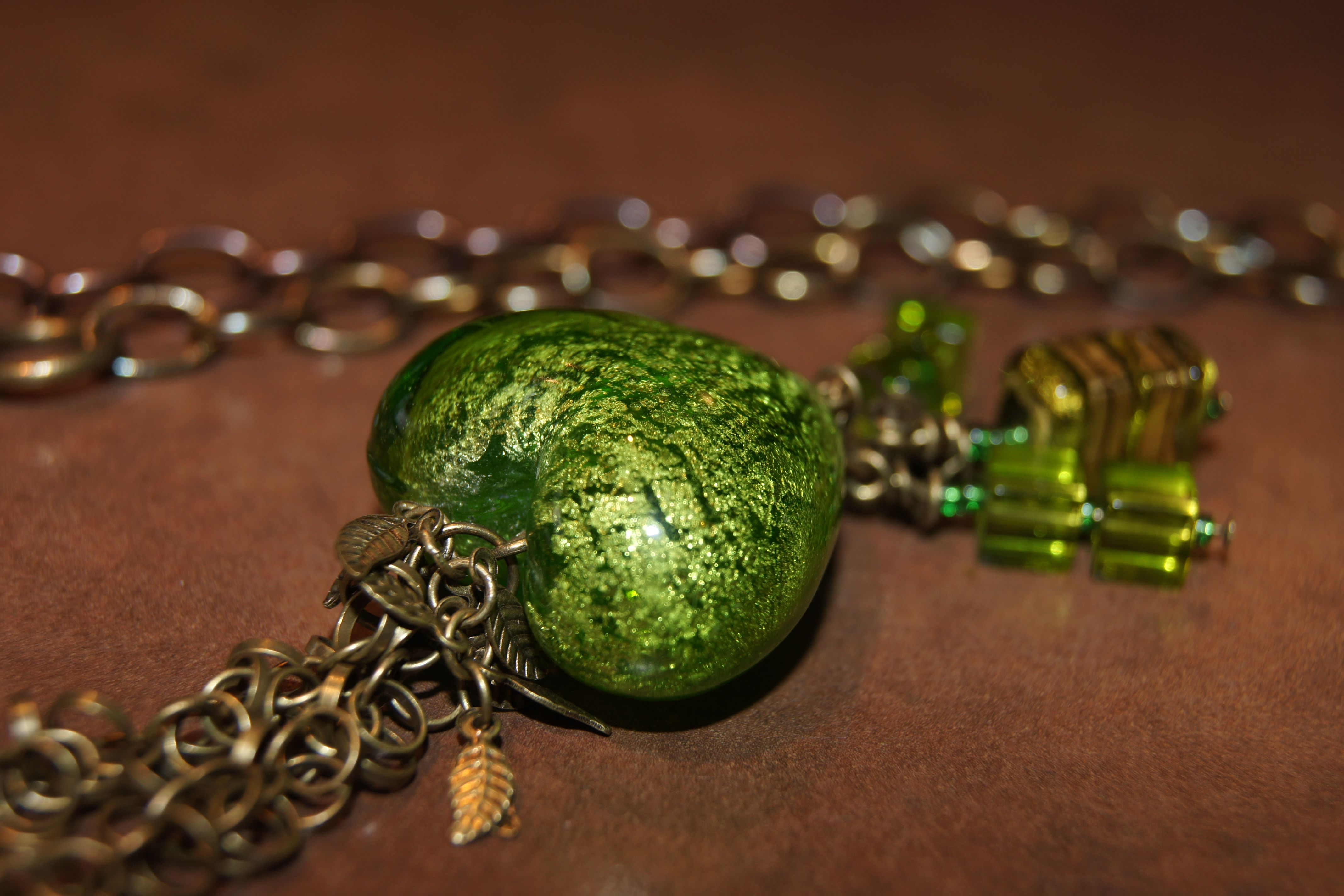 Love working with glass pieces, this apple green heart is beautiful