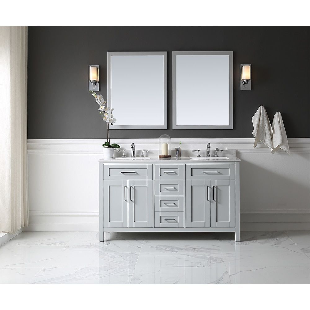 Ove Tahoe 60 X 21 Inch Vanity In Dove Grey With White Marble