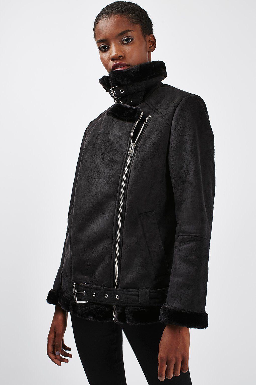 Faux Shearling Biker Jacket Faux fur biker jacket