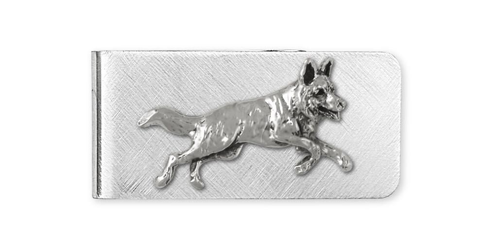 German Shepherd Money Clip Jewelry Sterling Silver Handmade Dog Money Clip GS9-MC