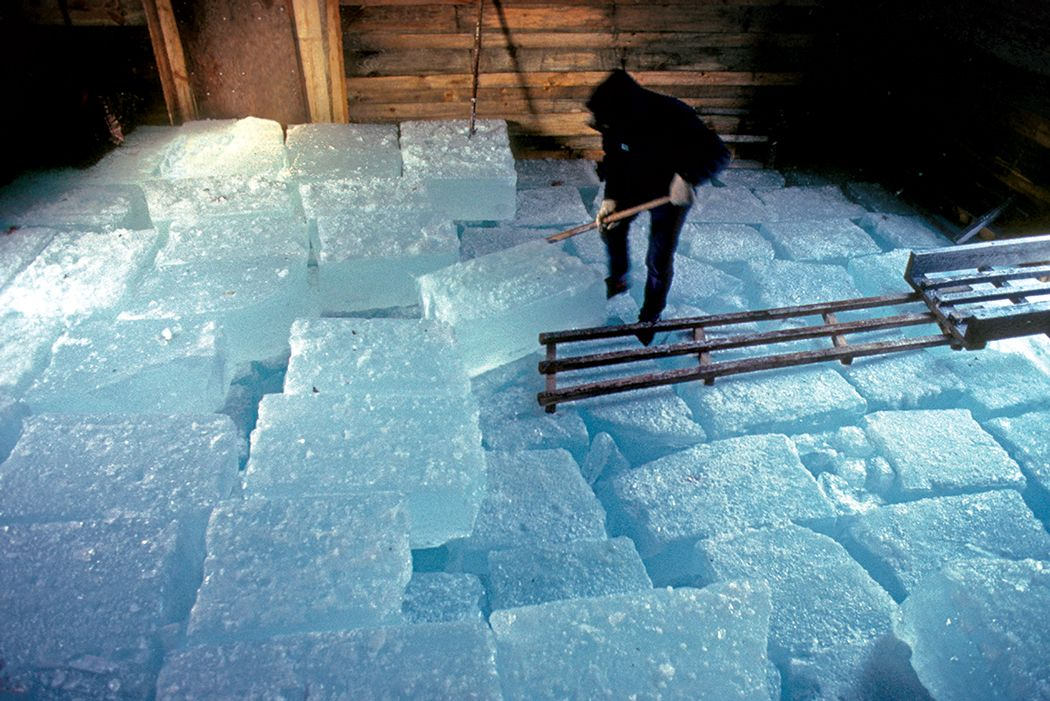 Before modern refrigeration, the ice harvest on freshwater ponds was a staple of Maine winters. Local ice went to use in homes, on fishing boats, and, of course, in making ice cream.