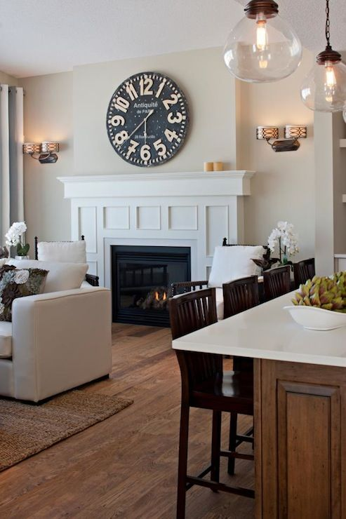 A Clean And Simple Living Space With A Pier 1 Grandiose Wall Clock