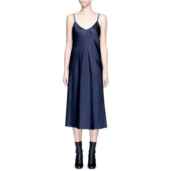 Helmut Lang Drape back silk satin slip dress (£445) ❤ liked on Polyvore featuring dresses, blue, slouch dress, drape back dress, slip dress, helmut lang and helmut lang dress