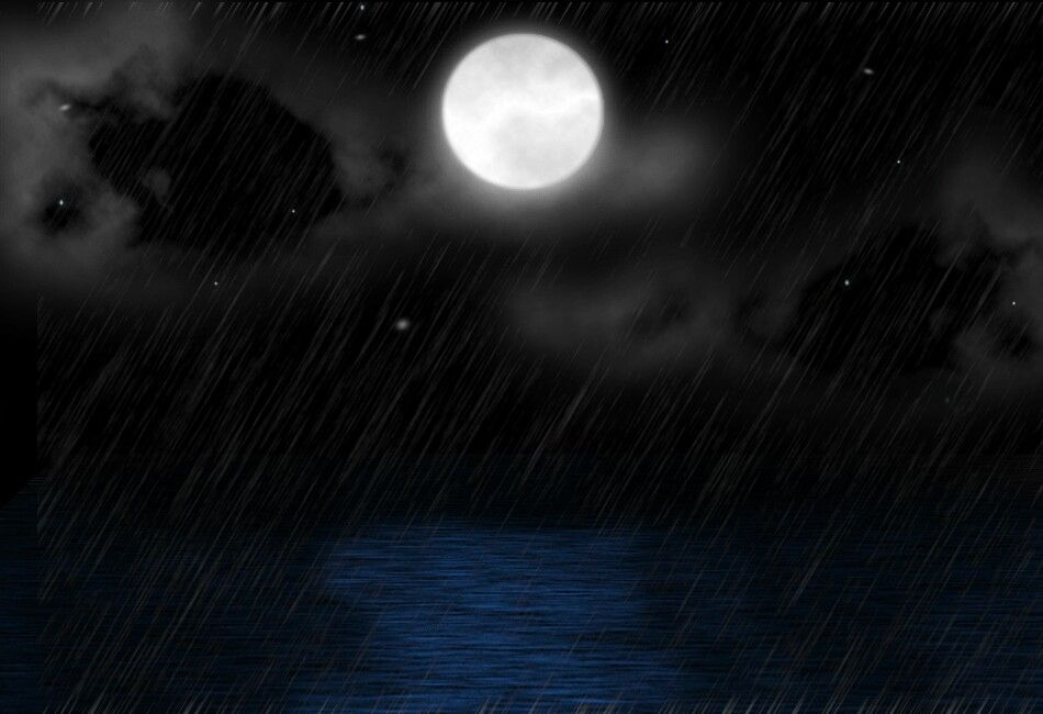 Full moon over rainy waters