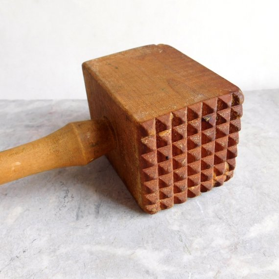 Vintage Wooden Meat Tenderizer Primitive Wood Mallet Food Hammer