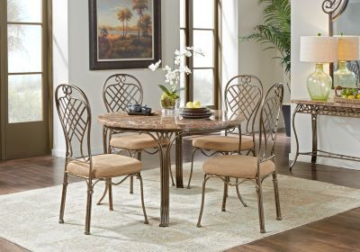 Alegra Metal 5 Pc Round Dining Set With Stone Top$49999Find Fair Stone Top Dining Room Tables Inspiration