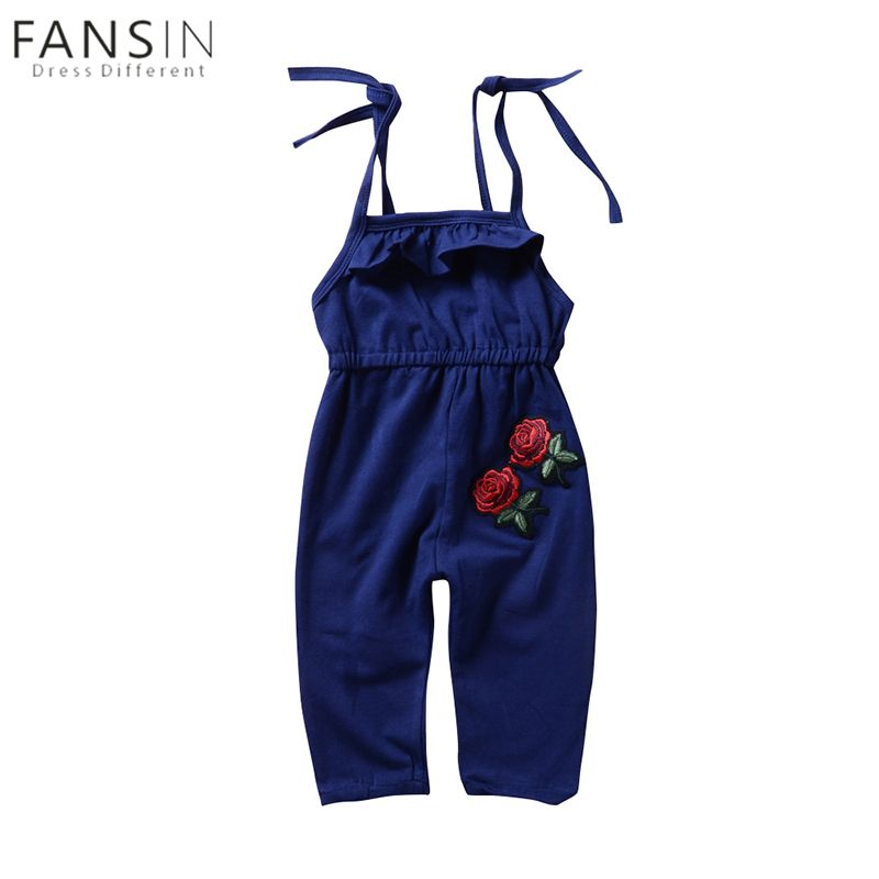 55470318185 FANSIN Embroidery Kids Baby Girls Romper Summer 3D Rose Flower Lace-up  Shoulder Jumpsuit Outfit Clothes 1-6T Kid Girls Clothing
