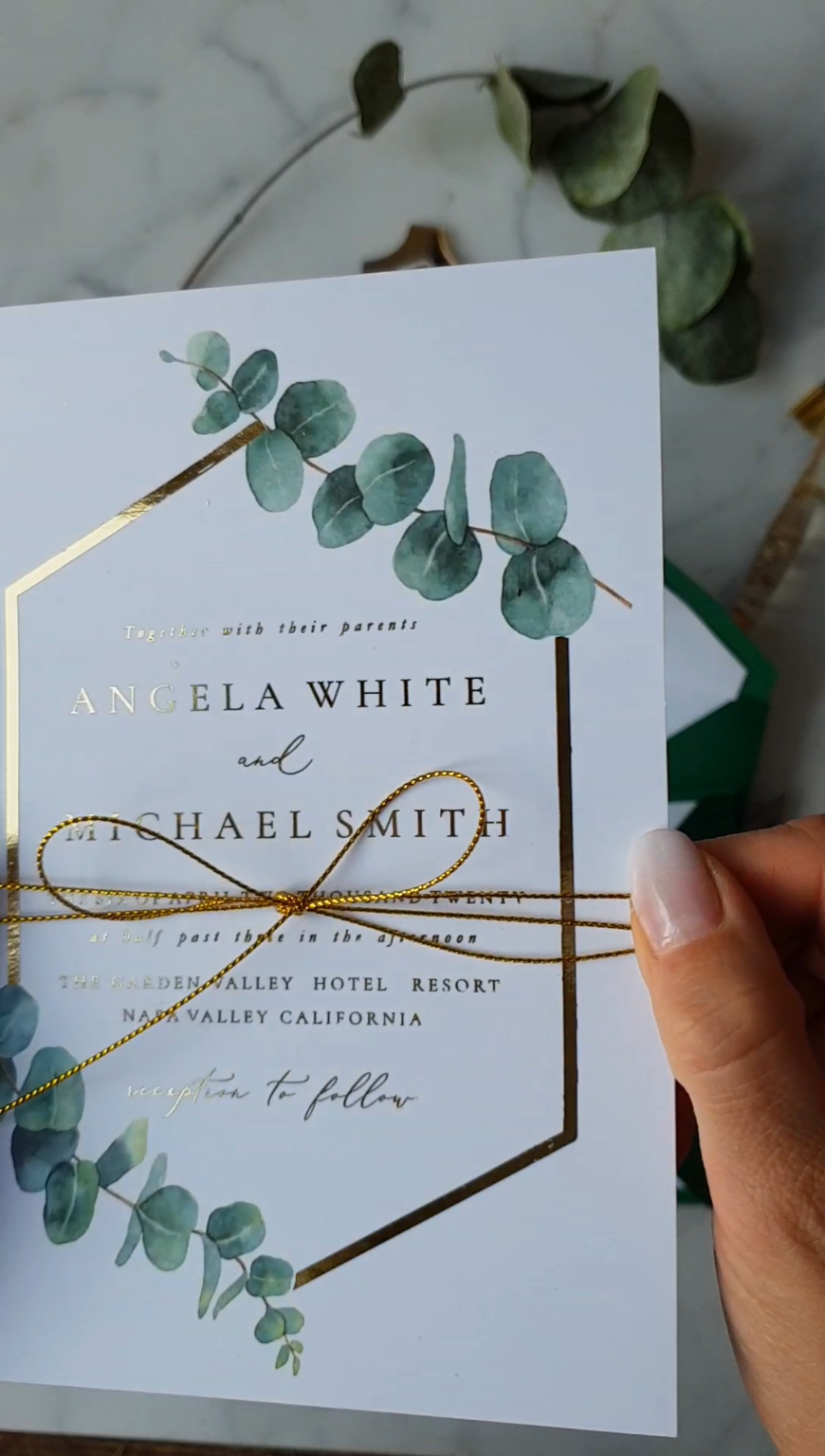 Greenery Gold WEdding Invitations with Eucaliptus