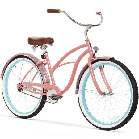 Sixthreezero Women S Single Speed Beach Cruiser Bicycle 26 Wheels And 17 Frame Paisley Coral Walmart Com Beach Cruiser Bike Beach Cruiser Bicycle Cruiser Bicycle