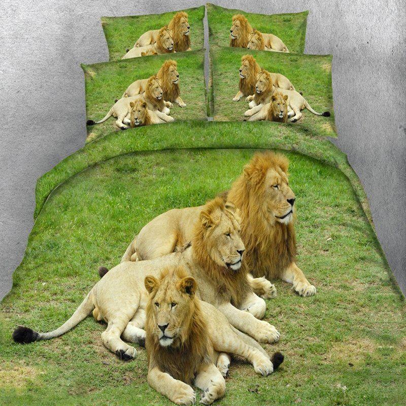Comforter Cover Green /& Tan Lions Duvet Sets