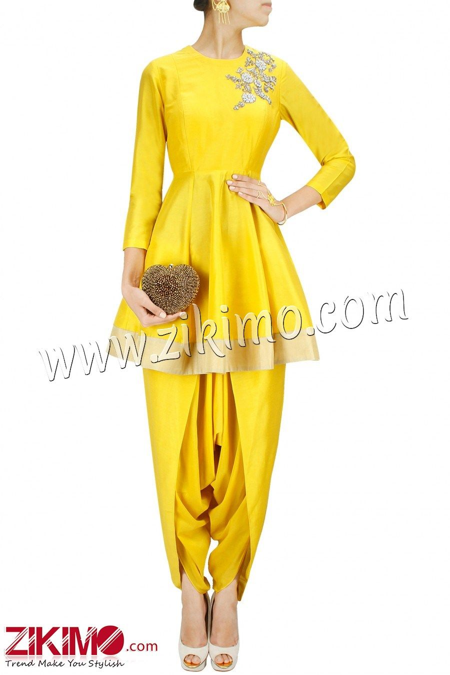 Made to Order Captivating Yellow Raw Silk Short Anarkali ...