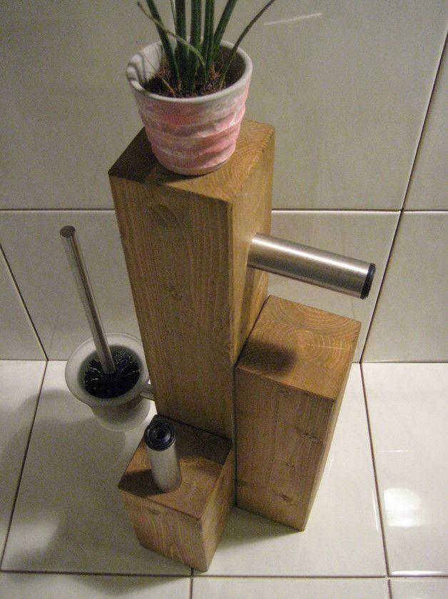 WC Garnitur Massivholz Eiche / Edelstahl Klopapierhalter