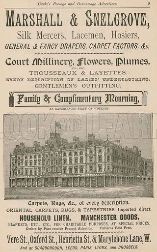 Advert For Marshall Snelgrove Silk Mercers Lacemen Hosiers Of Vere Street Oxford Street Henrietta Street Old London British History Historical Pictures
