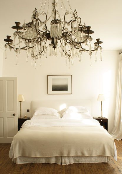 With sage green walls and a different bed frame and different art work above the bed! love the chandelier!