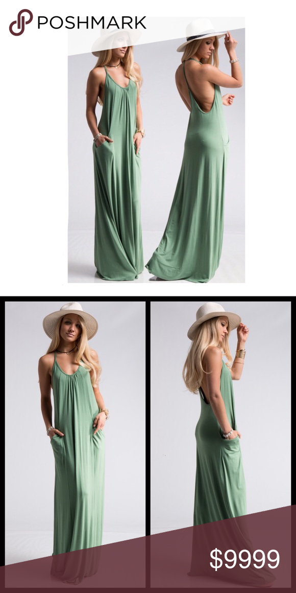 94c23ab8a7 Jersey Knit Pocketed Maxi-Seafoam How perfect is this maxi dress for the Summer  season! It screams comfort while keeping it sexy.