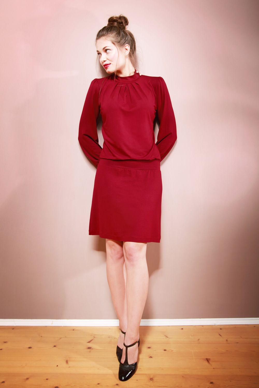 Elegantes Kleid ANAIS mit Stehkragen in bordeaux | Kleider ...