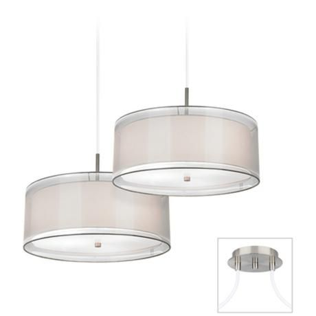 Brushed Nickel White Drum Double Multi Light Pendant X9873 V6122 Lampsplus Com Contemporary Chandelier Multi Light Pendant Chandelier Design