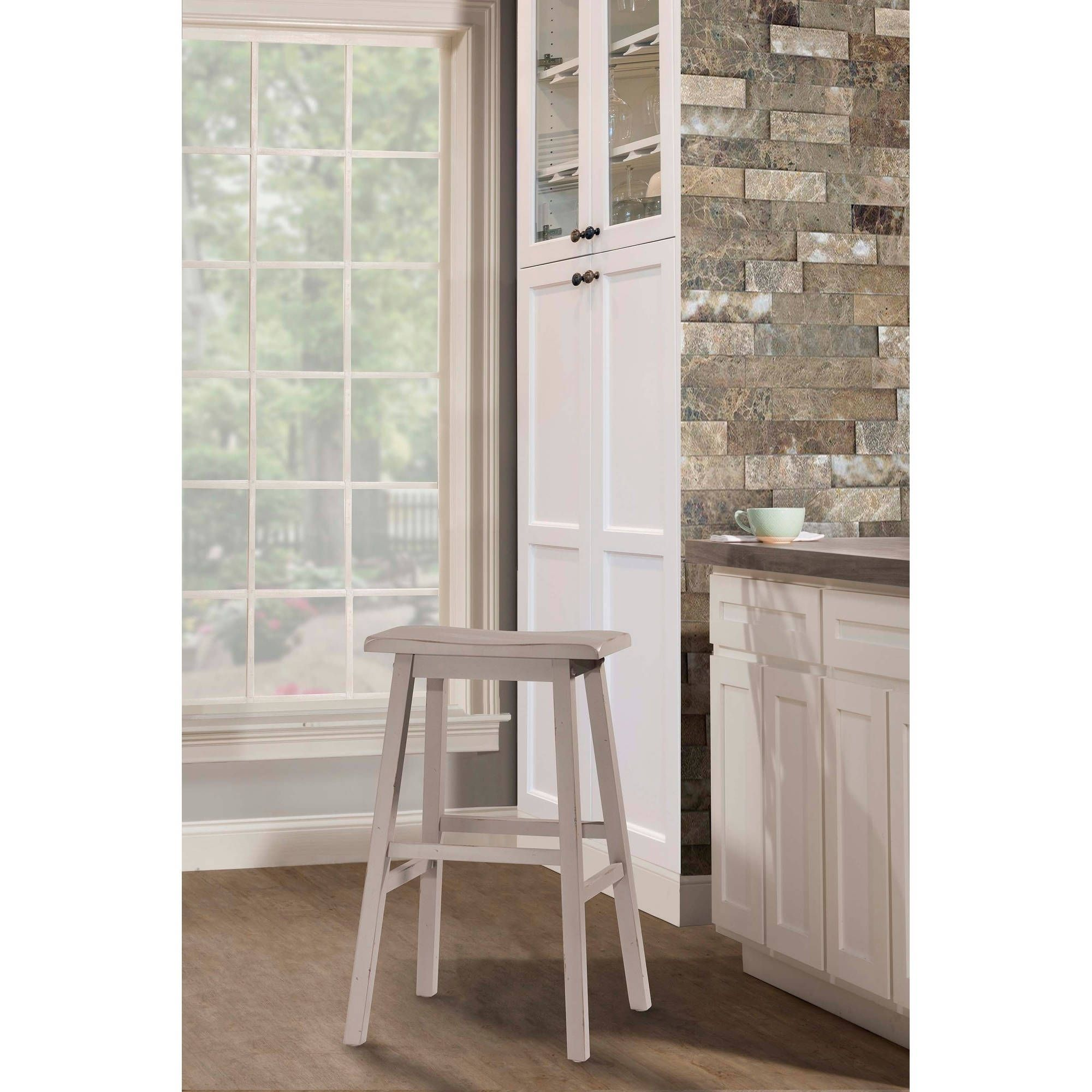 Hillsdale Furniture Moreno Non Swivel Backless Bar Stool Gray