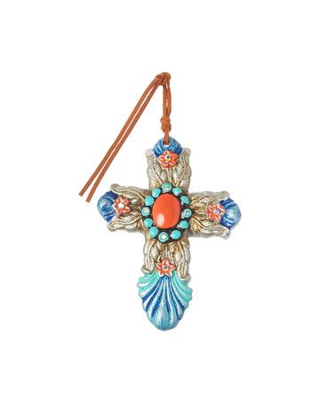 Look at this #zulilyfind! Antique Silver & Turquoise Cross Pendant by Oori Trading #zulilyfinds