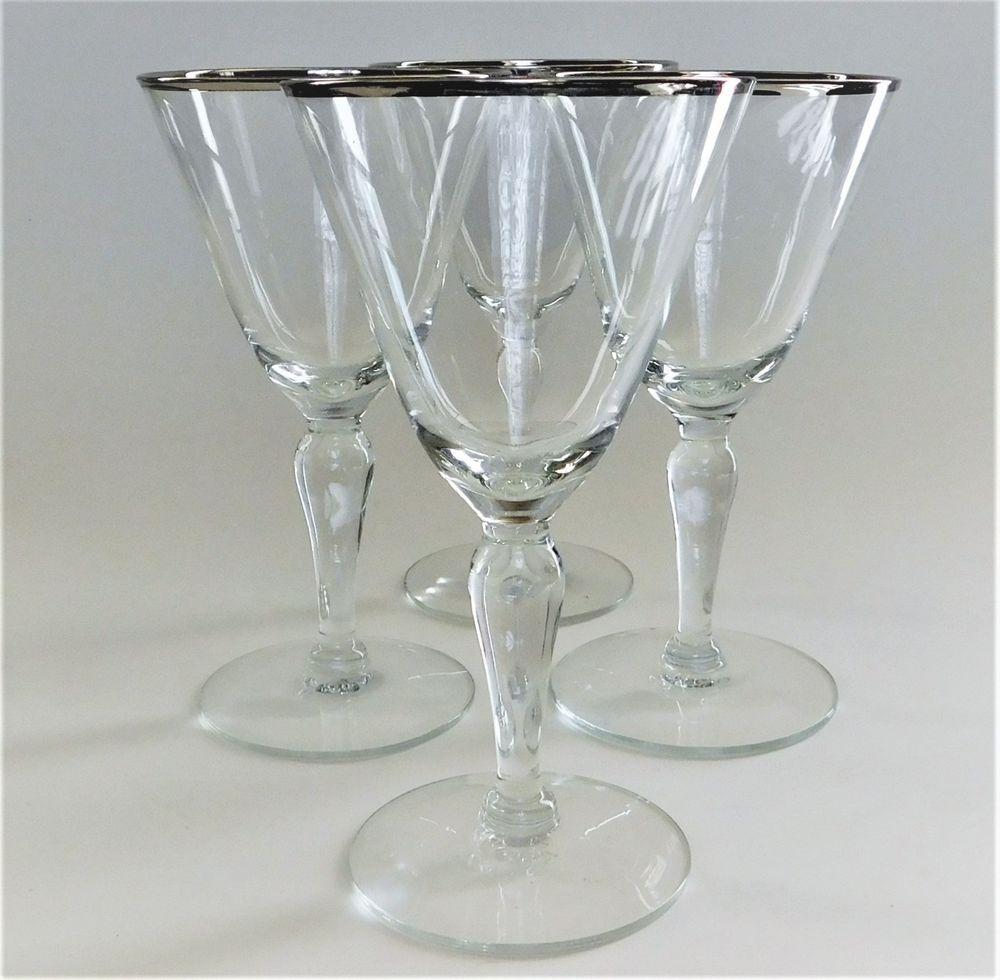4 Fostoria Wedding Ring Crystal Clear Stem Champagne Tall Sherbet Wine Glasses Fostoria Formal Crystal Glassware Fostoria Vintage Glassware