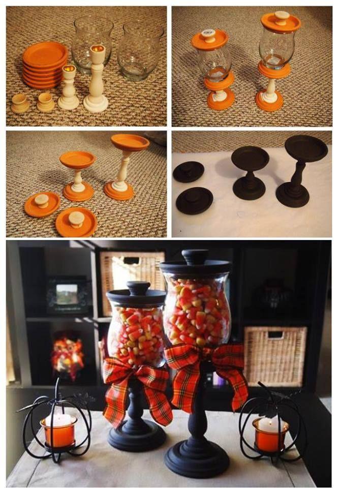 Diy Halloween Candy Jars Dollar Tree Diy Pinterest Halloween