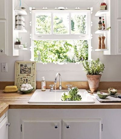 Butcher Block Countertops Open Shelving White Cabinets Kitchen