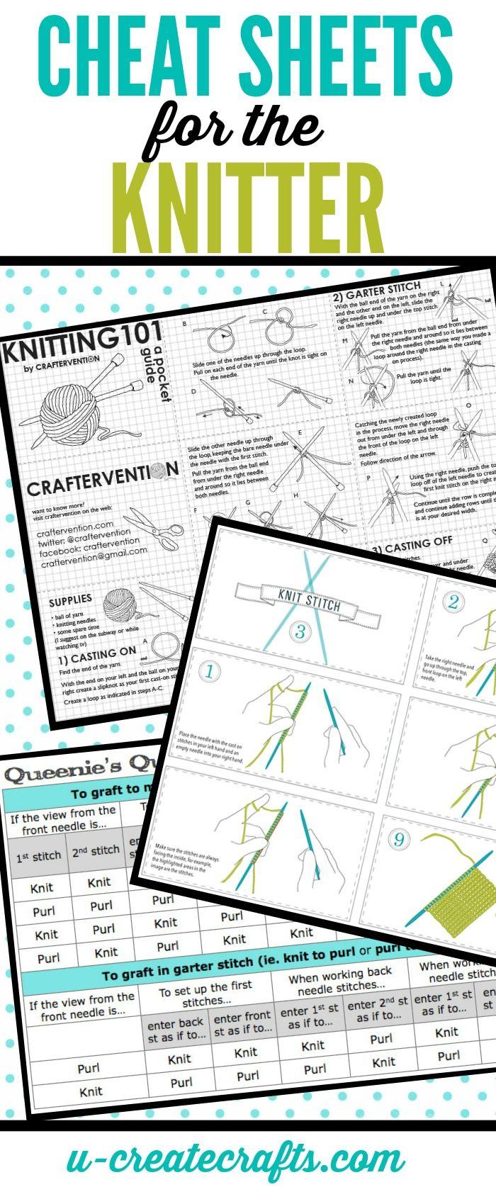 cheat sheets. | Knitting Tools | Pinterest | Tejido, Dos agujas y Puntos