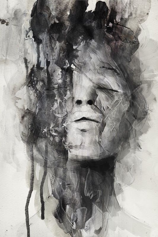 Artist januz miralles contemporary female head abstraction woman face portrait mixed media b w grunge painting drips