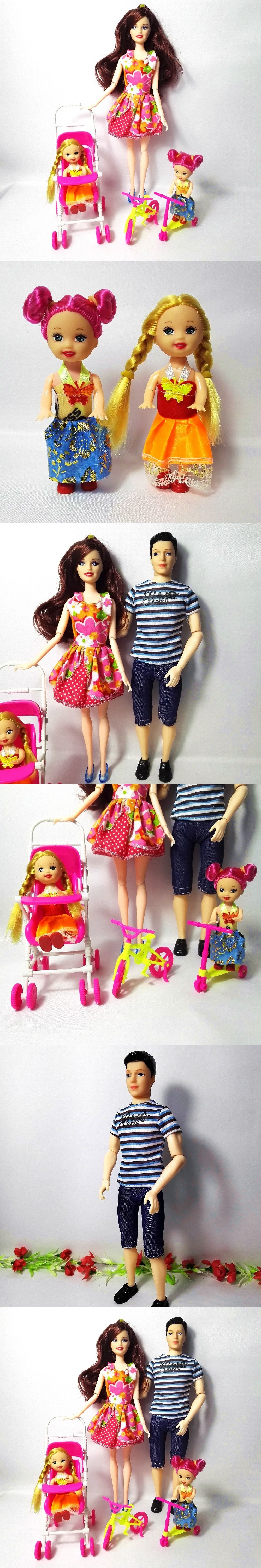 Car toys for girls  Fashion Doll Family  People Dolls Suits  MomDad Little Kelly
