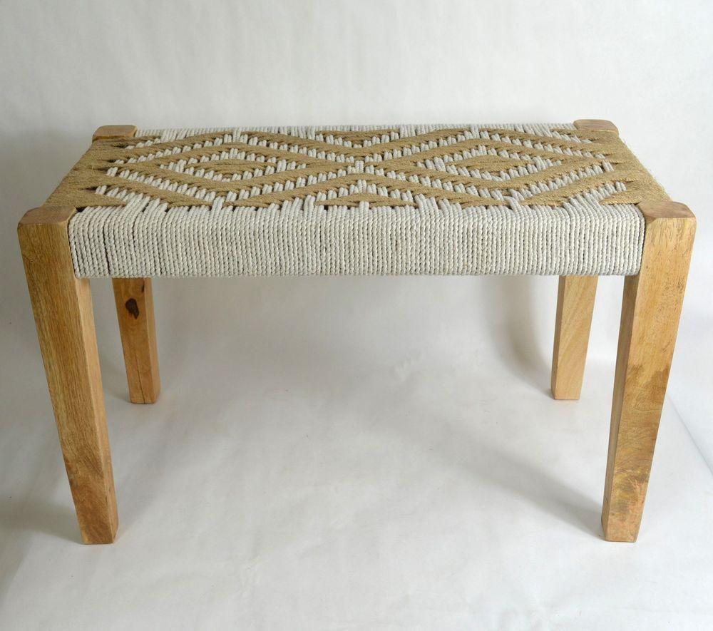 Cool White Cotton Natural Jute Woven Wooden Wood Bench Native Creativecarmelina Interior Chair Design Creativecarmelinacom