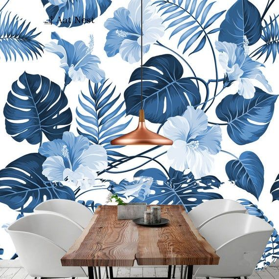 Fresh Simple Watercolor Blue Leaves Wallpaper, Big Blue Flowers Wall Mural, Wall Art, Living and Dinning Room Wall Paper #blueflowerwallpaper