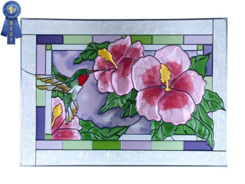 42x10 HUMMINGBIRD Floral Stained Art Glass Window Suncatcher