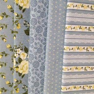 K23 - Kit de Tecidos Estampados para Patchwrk Floral Paris Acqua Marine 100% Algodão
