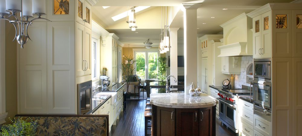 Kensington French Chateau Kitchen- Traditional Flat-panel painted Cloud White Doors w/custom & Kensington French Chateau Kitchen- Traditional Flat-panel painted ...