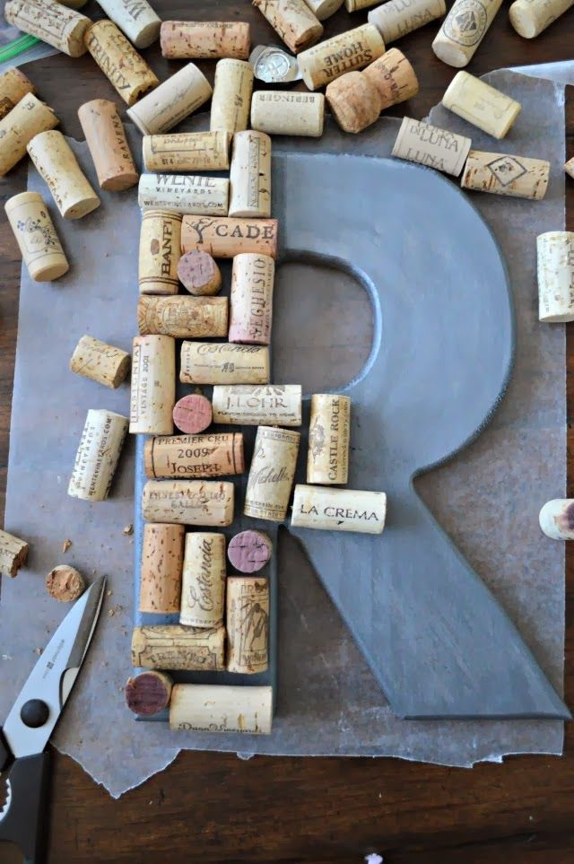 Monogrammed letters with wine corks for the