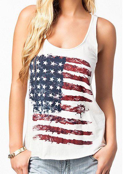 65d88ddd8ed0e Casual American Flag Print Tank Top