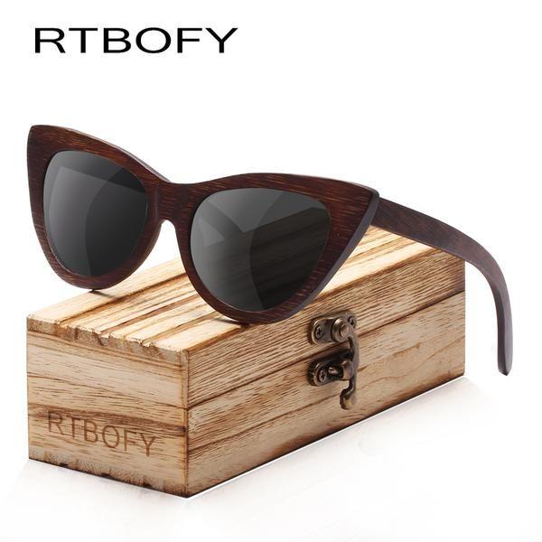 67008fe3ce436 RTBOFY Wood Sunglasses Women Bamboo Frame Eyeglasses Polarized Lenses  Glasses Vintage Design Sun Shades UV400 Protection